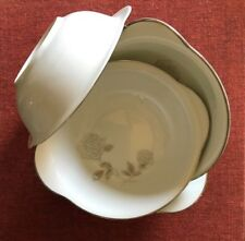 """Noritake """"Rosay"""" Set of 4 Lugged Cereal Bowls ~ Platinum Trim ~ Mint Condition"""