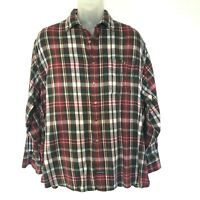 Vintage Bass Old School Plaid Flannel Shirt Rockabilly Size XL Red Green White