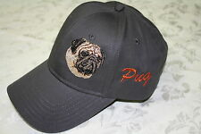 Pug Dog Embroidered On a Grey Structured Hat