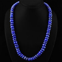 GENUINE 620.00 CTS NATURAL RICH BLUE LAPIS LAZULI ROUND BEADS NECKLACE STRAND