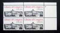 Sc # 2004 ~ Plate # Block ~ 20 cent Library of Congress Issue (cg16)