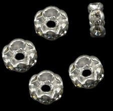 150 Glas Strass Rondell Spacer Metallperlen 6mm SILBER FARBE KLAR DIY R25#3