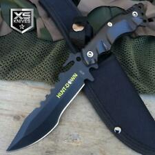 """10"""" Black Tactical Survival Full Tang Fixed Blade Hunting Knife Bowie w/ Sheath"""