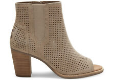 TOMS Women's Suede Perforated 'MAJORCA' Peep Toe Booties, Stucco, Size 12W