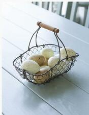 FARMHOUSE Small Oblong FRENCH WIRE GATHERING EGG BASKET