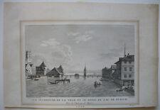 Zürich Züricher See vom Haus zum Schwert Schweiz Orig. Kupferstich Née 1790