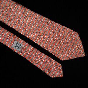 Hermes Tie 908 HA 100% Silk Red Background Silver-Grey Anchor Print sea water