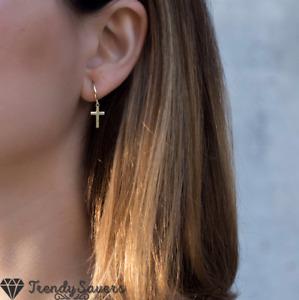PAIR of Titanium Steel Huggie Black Thick Silver Gold Dangle Cross Hoop Earrings