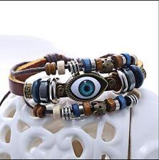 New Handmade Turkish Eye Leather Adjustable Bracelet Wristband