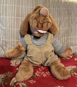 """Vintage 1981 Ganz Bros Wrinkles Plush Hound Dog Hand Puppet 18"""" Boy w/ Clothes"""