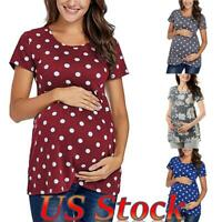 ❤Plus Size Maternity Top Breastfeeding Nursing Blouse Polka Dot Floral T-Shirt❤