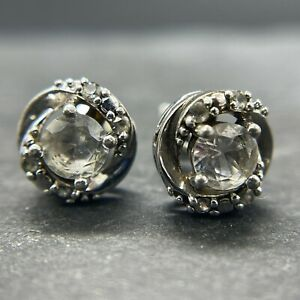 Vintage 925 Sterling Silver Post Stud Earrings Halo White Sapphires
