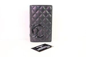 Authentic Chanel Black Lambskin Cambon Bifold Checkbook Wallet