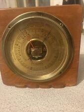 Vintage Mid Century Modern Art Deco Airguide Desk Barometer Brass Walnut Case