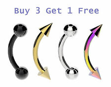 8mm - 10mm Steel Curved Bar Barbell Ball Spike Web Tragus Eyebrow Ring Piercing