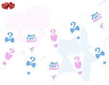Il Ou Elle Gender Reveal rose bébé bébé Blanc Bleu à Thème Bunting Bannière 15 drapeaux