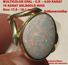 Coober Pedy Opal 4.90 Karat 750er Gelbgoldring Größe verstellbar