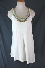 ANTHROPOLOGIE Ric Rac Staccato Garnish Racerback Tank Top XS Bead Neck Tunic