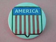 AMERICA BUTTON  American flag shield  White Background pinback award  patriotic