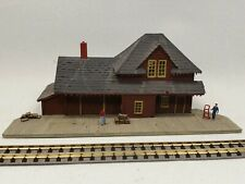 N scale Halloran scratch built model train station with platform