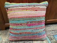 ❤️ Striped Recycled Cotton Jute Cushion Cover RAINBOW 45cm x 45cm Plain Back Zip