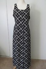 LLOYD Black/White Diagonal Diamond Print Button Front Long Dress NWOT SZ: 10