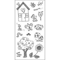 NEW Fiskars Stamp Set Outdoor Fun Simple Stick Unmounted Rubber House Tree CR1