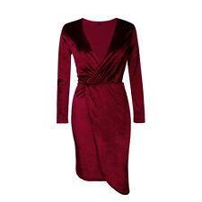 Women V Neck Crushed Velvet Dress Party Evening Cocktail Short Mini Wrap Dresses