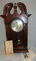 """1980's Sligh """"0701-1-AN"""" Carved Oak Chime Wall Clock Franz Hemle Movement 2964"""