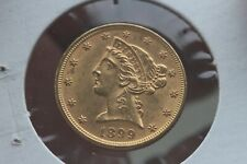 1899 Liberty Head Half Eagle Gold Coin $5 Mint State