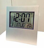 LCD Digital Silver Wall Clock / Table Clock w/ Calendar Temperature Alarm Clock