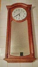 Sunbeam Quartz mirror Wall Clock Oak Stained Wood Battery Operated Made In USA
