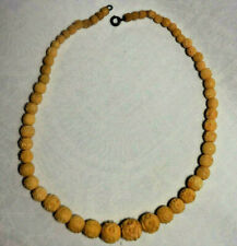 Vintage Carved Bovine Bone Bead Necklace 15 Inches Graduated