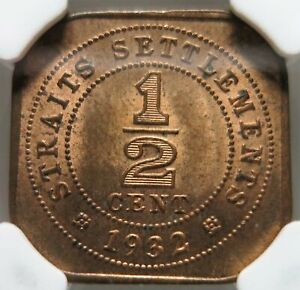 STRAITS SETTLEMENTS Malaysia Britain 1/2 cent 1932 NGC MS 63 BN UNC