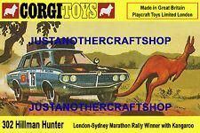 CORGI TOYS 302 Hillman Hunter Auto da Rally Dimensione a3 Poster Pubblicità opuscolo Negozio Segno