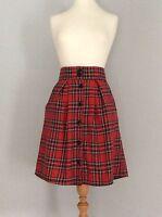 Tartan plaid red high waisted button up knee length  skirt