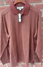 $128 TOMMY BAHAMA MENS TWILL WITHERS POLO L/S SILK BLEND BROWN GOLF SHIRT XL NWT