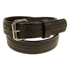 "1 1/2"" Heavy Duty Leather_Work_CCW Gun Belt_Basket Weave_Amish Handmade Black"