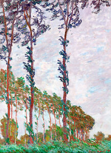 Wind Effect-Series of The Poplars by Claude Monet A1 High Quality Art Print