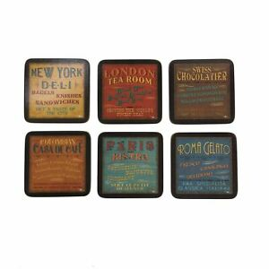 """SET OF 6 LUNCHTIME THEMED CORK BACKED PLACEMATS 30.5X23.5X0.6CM - 12X9X0.25"""""""