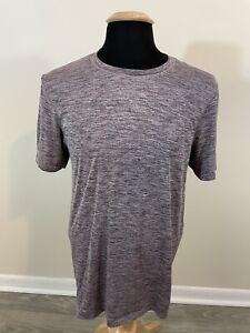 Men's Lululemon Metal Vent Tech V Neck T-Shirt Heathered Purple Black Size Large