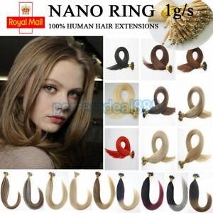 7A 1 GRAM 14-24 Nano Ring Tip Micro Bead Human Hair Extensions 1g Double Drawn
