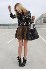 S Zara Leopard Print Skirt Cheetah Mini Blogger Full A-line Black Taffeta Bubble