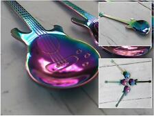 Iridescent Guitar Teaspoon Music Musician Rainbow Stainless Steel Spoon Cutlery