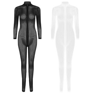 Women's Sheer Bodysuit Double Zip Jumpsuit Striped Catsuit Open Crotch Clubwear