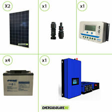 Kit Solare 560W 48V Inverter Grid Tie 1Kw Regolatore PWM Batteria 38Ah AGM