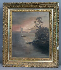 Ca.1900 Antique VICTORIAN Old RIVER VALLEY Oil LANDSCAPE PAINTING Gesso FRAME