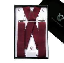 Men's Burgundy X3.5cm Extra Large Braces Suspenders Mens