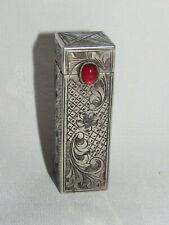 03F9 Old Box Lipstick Holder Case Sterling Silver 800 Embossed Art New
