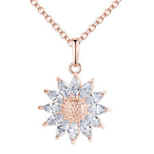 18K White/Rose Gold Plated AAA+ Cubic Zircon CZ Sunflower Chain Pendant Necklace